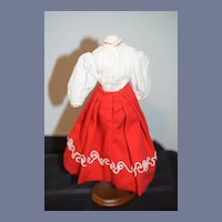 Red and White Dress Set Doll Petite