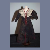 Dark Paisley Print Doll Dress with Lace Overlay