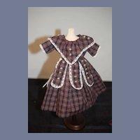 Vintage Tartan Plaid Dress with Lace Accents Doll Dress
