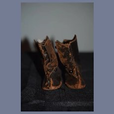 Old Brown Leather Doll Boots