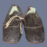 Brown Leather Pair of Doll Dress Shoes