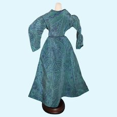 Beautiful Blue Pattern Doll Dress