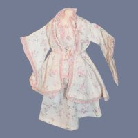 White Cloth Floral Pattern Doll Dress and Robe