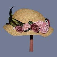 Flower Accent Straw Doll Hat