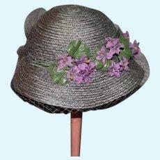 Large Gray Straw Doll Hat