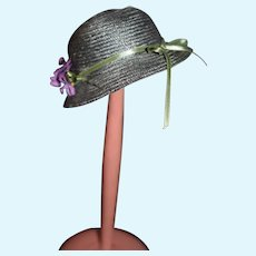 Small Gray Doll Hat with Purple Flowers