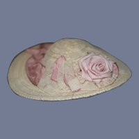 Straw Doll Hat with Lace Overlay and Pink Accents