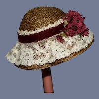 Small Straw Doll Hat with Lace and Velvet Details
