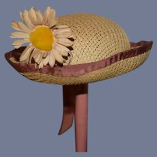 Straw Doll Hat with Sunflower Charming Bonnet