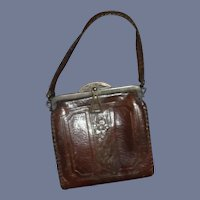 Small Brown Leather Doll Purse Miniature