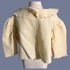Yellow Felt Doll Jacket with Ribbon Tie