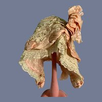 Old Lace Doll Bonnet with Pink Ribbon Flowers