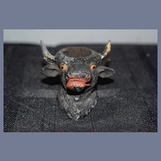 Metal Painted Bull Head Pin Cushion