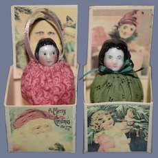 Wonderful Set of Miniature Pair of Two Antique German China Head Doll Set Jack in the Box Miniature Dollhouse