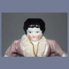 Antique China Head in Fancy Purple and White Lace Suit