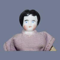 Antique Miniature China Head Doll with Purple Dress