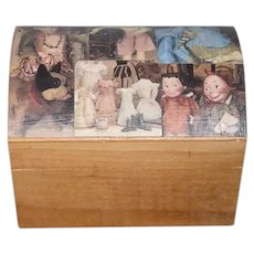 Small Wooden Chest with Paper Mache Doll Photos on the Lid