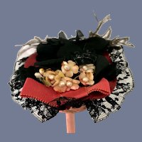 Fancy Black Doll Hat with Black Lace Overlay and Floral and Feather Accents