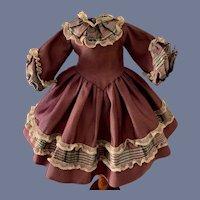 Purple and Plaid Long Sleeve Doll Dress