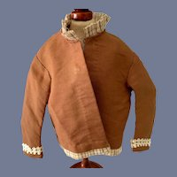 Brown Doll Jacket with Plaid Trim