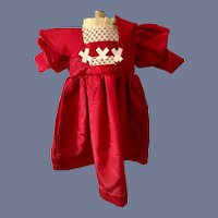 100% Cotton Red Long Sleeve Doll Dress with Cotton Embroidered Details