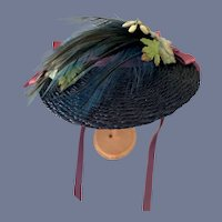 Fancy Blue Straw Doll Hat with Floral Accents