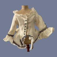Fancy White Striped Doll Blouse
