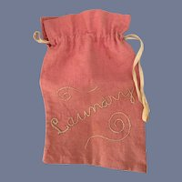 Vintage Pink Doll Laundry Bag with Stitched Label