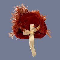 Fancy Bright Red Doll Hat with Large Red Feather