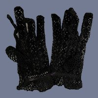 Fancy Large Black Knit Gloves