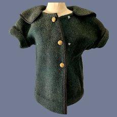 Vintage Green Felt Doll Jacket with Matching Cap