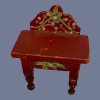Wonderful Doll Miniature Painted Old Wood Table Folk Art Cottage Dollhouse