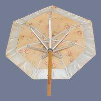 Vintage Doll Parasol Umbrella W/ Wood Handle and Floral