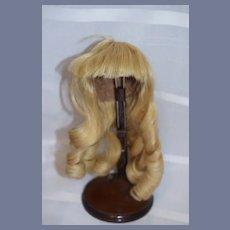 Wonderful Doll Wig W/ Bangs and Curls Human Hair