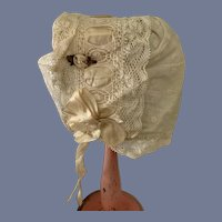 White Lace Overlay Doll Bonnet with Small Flower Accent