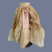 Fancy Pink Doll Skirt with Lace Overlay and Pleats