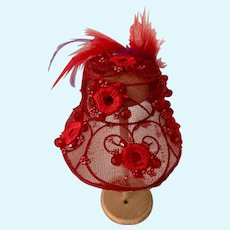 Beautiful Red Wire and Mesh Doll Hat