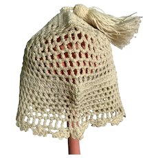 White Knit Doll Hat with Tassel