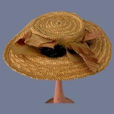 Nice Flat Brim Straw Doll Hat