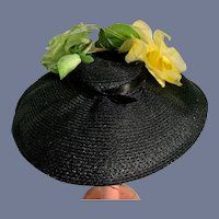 Black Straw Doll Hat with Flower Decorations