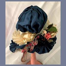 Large Navy Blue Floral Doll Bonnet