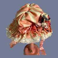Pink and White Striped Doll Bonnet
