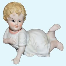 All Bisque Miniature Crawling Baby Doll Figure