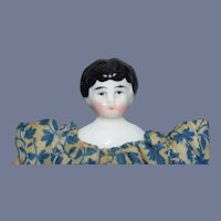 Cloth Body Miniature China Head with Floral Dress