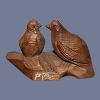 Pair of Hand Carved Wood Birds
