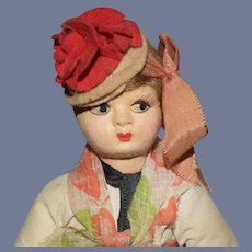 Swiss Themed Girl Cloth Doll with Painted Face