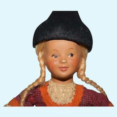 Swiss Cloth Doll with Long Blonde Dutch Braids