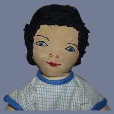 Cloth Boy Doll in Plaid Jumper with Stitched Face