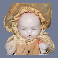 Open Mouth All Bisque Baby with Long Tan Dress