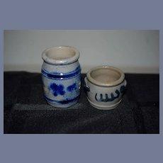 Set Of Two Miniature Jugs Pottery Dollhouse